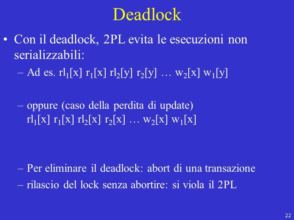 22 Deadlock Con il deadlock, 2PL evita le esecuzioni non serializzabili: –Ad es.