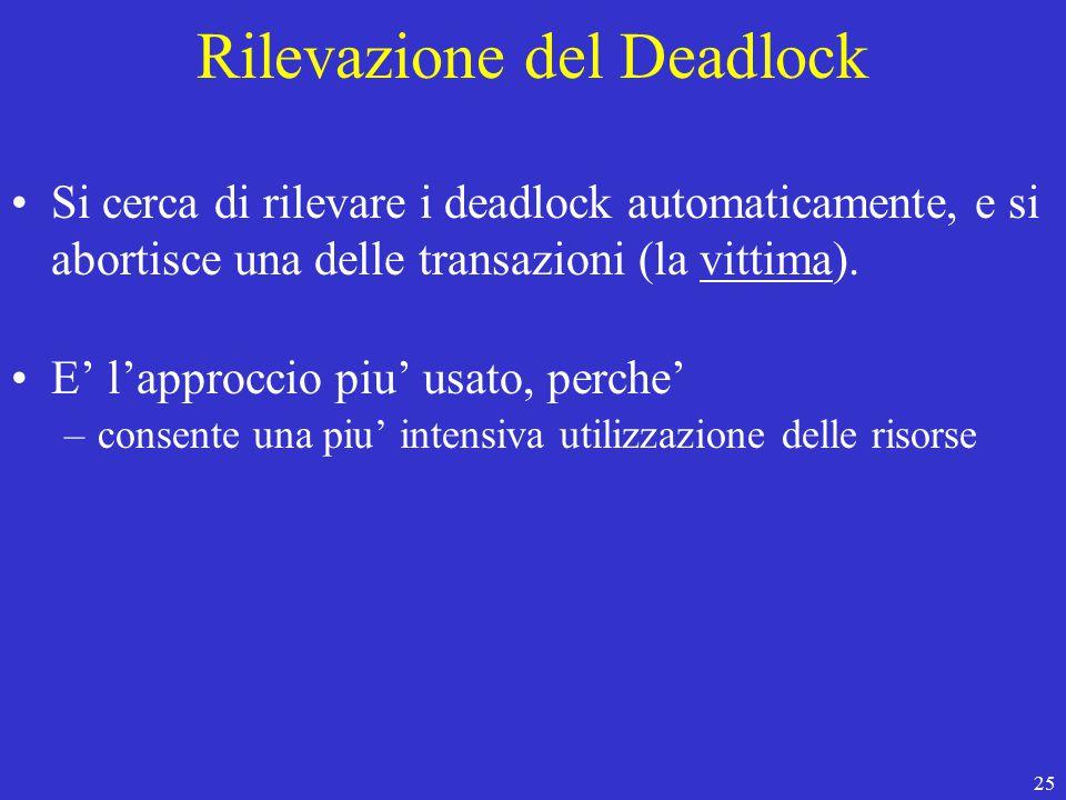 25 Rilevazione del Deadlock Si cerca di rilevare i deadlock automaticamente, e si abortisce una delle transazioni (la vittima).