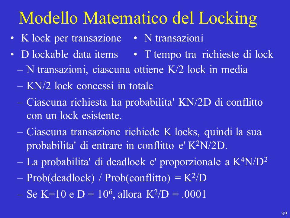 39 Modello Matematico del Locking –N transazioni, ciascuna ottiene K/2 lock in media –KN/2 lock concessi in totale –Ciascuna richiesta ha probabilita KN/2D di conflitto con un lock esistente.