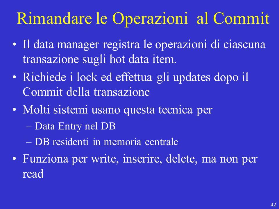 42 Rimandare le Operazioni al Commit Il data manager registra le operazioni di ciascuna transazione sugli hot data item.
