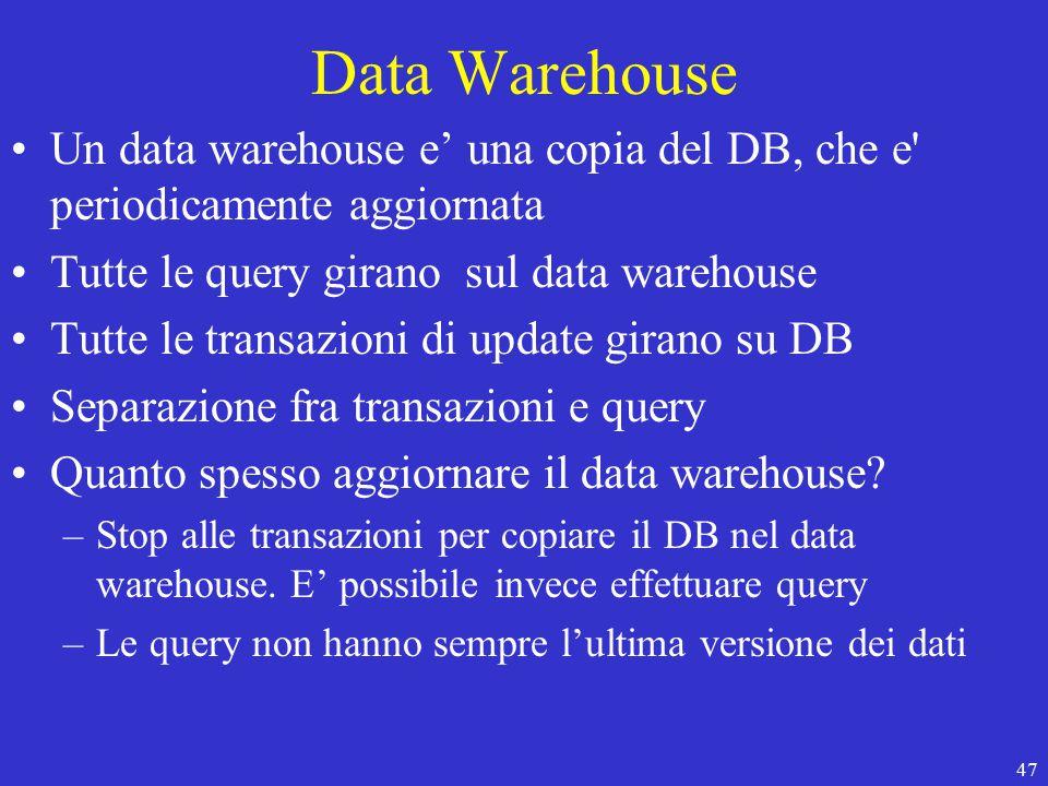 47 Data Warehouse Un data warehouse e' una copia del DB, che e periodicamente aggiornata Tutte le query girano sul data warehouse Tutte le transazioni di update girano su DB Separazione fra transazioni e query Quanto spesso aggiornare il data warehouse.