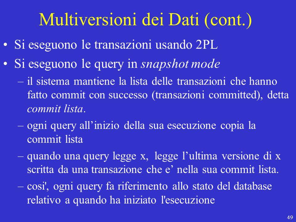 49 Multiversioni dei Dati (cont.) Si eseguono le transazioni usando 2PL Si eseguono le query in snapshot mode –il sistema mantiene la lista delle transazioni che hanno fatto commit con successo (transazioni committed), detta commit lista.