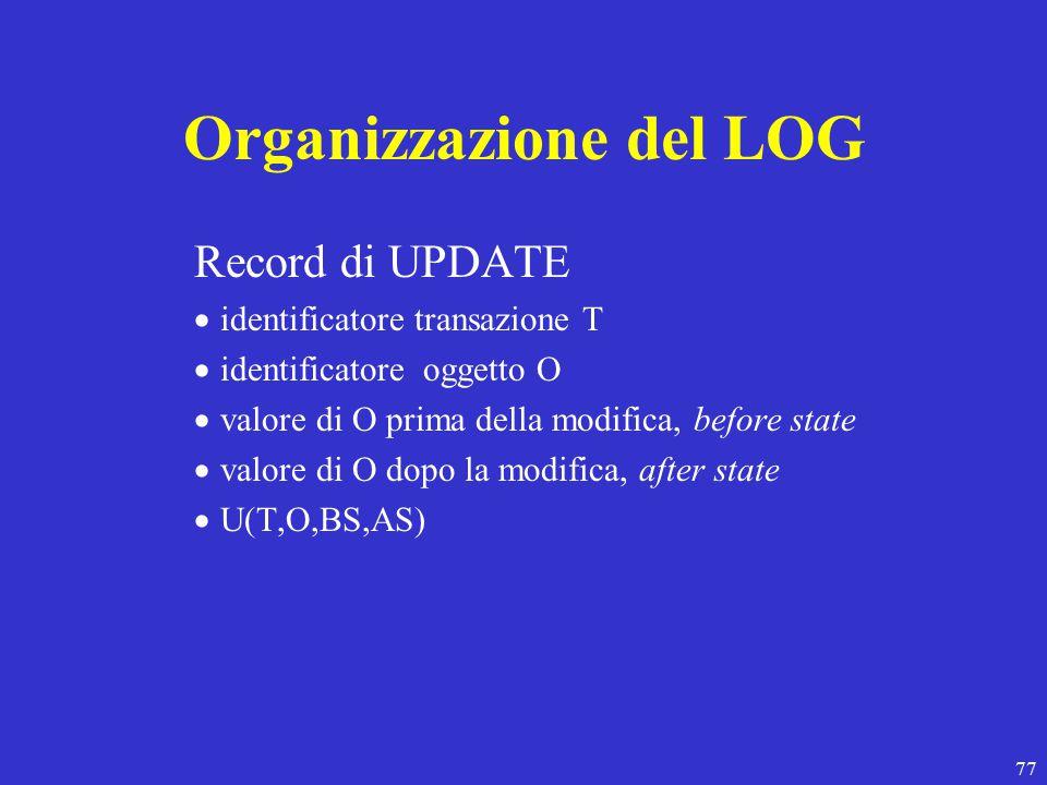 77 Organizzazione del LOG Record di UPDATE  identificatore transazione T  identificatore oggetto O  valore di O prima della modifica, before state  valore di O dopo la modifica, after state  U(T,O,BS,AS)