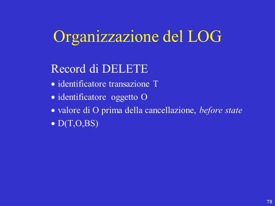78 Organizzazione del LOG Record di DELETE  identificatore transazione T  identificatore oggetto O  valore di O prima della cancellazione, before state  D(T,O,BS)