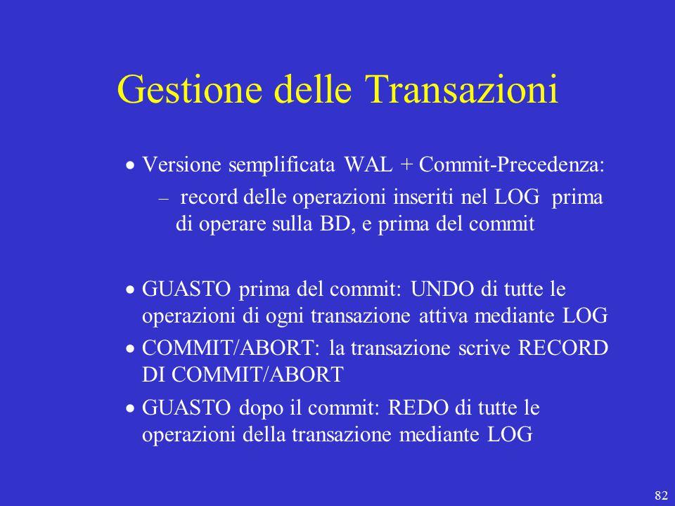 82 Gestione delle Transazioni  Versione semplificata WAL + Commit-Precedenza: – record delle operazioni inseriti nel LOG prima di operare sulla BD, e prima del commit  GUASTO prima del commit: UNDO di tutte le operazioni di ogni transazione attiva mediante LOG  COMMIT/ABORT: la transazione scrive RECORD DI COMMIT/ABORT  GUASTO dopo il commit: REDO di tutte le operazioni della transazione mediante LOG