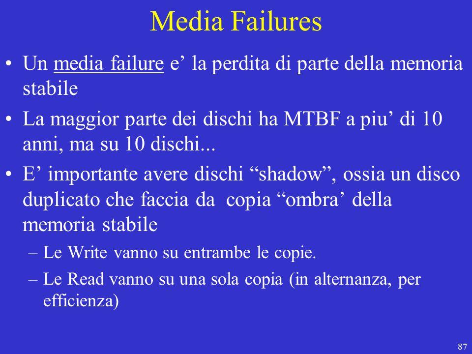 87 Media Failures Un media failure e' la perdita di parte della memoria stabile La maggior parte dei dischi ha MTBF a piu' di 10 anni, ma su 10 dischi...