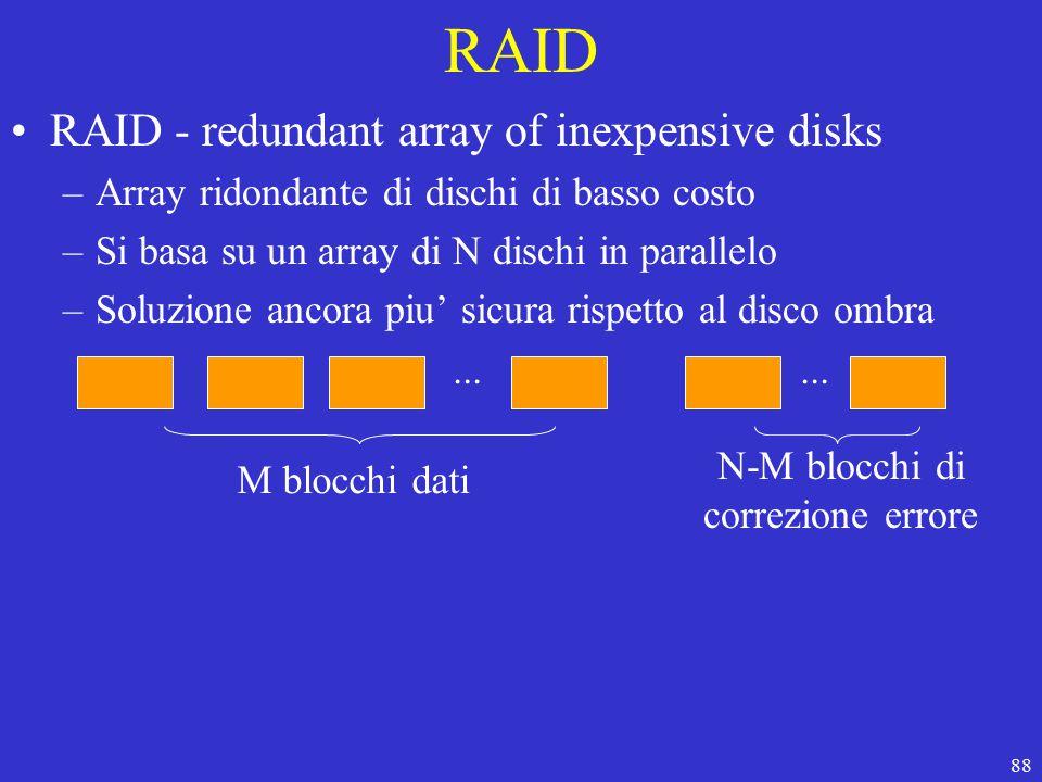 88 RAID RAID - redundant array of inexpensive disks –Array ridondante di dischi di basso costo –Si basa su un array di N dischi in parallelo –Soluzione ancora piu' sicura rispetto al disco ombra...