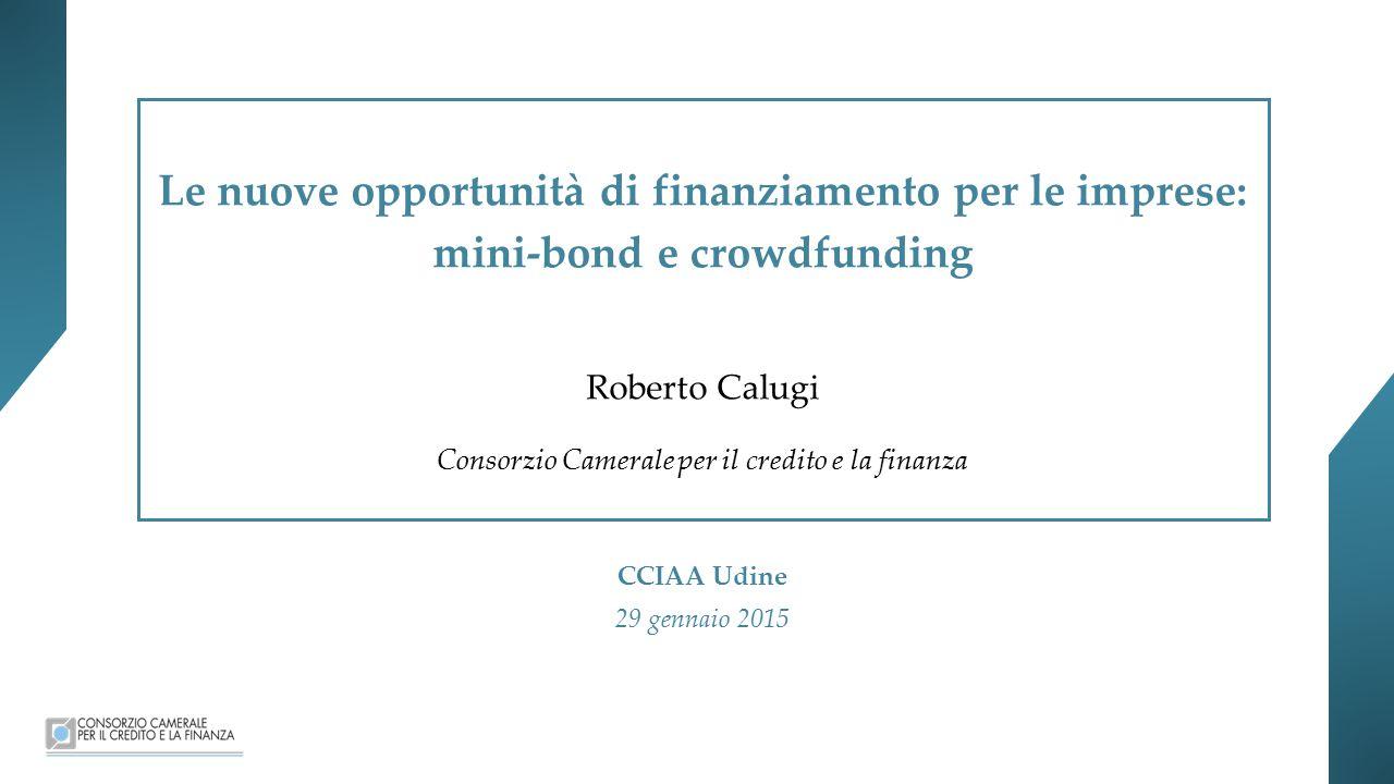 Le nuove opportunità di finanziamento per le imprese: mini-bond e crowdfunding Roberto Calugi Consorzio Camerale per il credito e la finanza CCIAA Udine 29 gennaio 2015