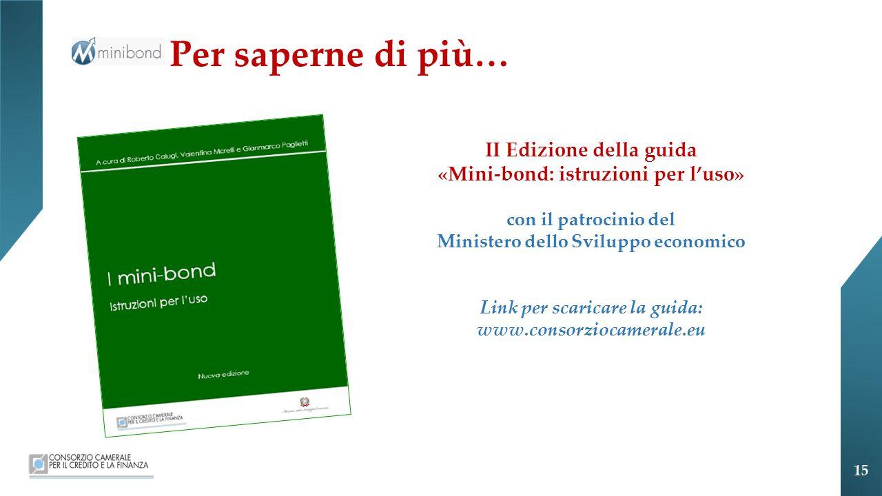 Per saperne di più… II Edizione della guida «Mini-bond: istruzioni per l'uso» con il patrocinio del Ministero dello Sviluppo economico Link per scaricare la guida: www.consorziocamerale.eu 15