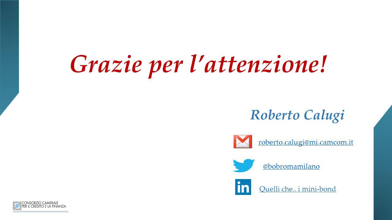 Grazie per l'attenzione.Roberto Calugi roberto.calugi@mi.camcom.it @bobromamilano Quelli che..
