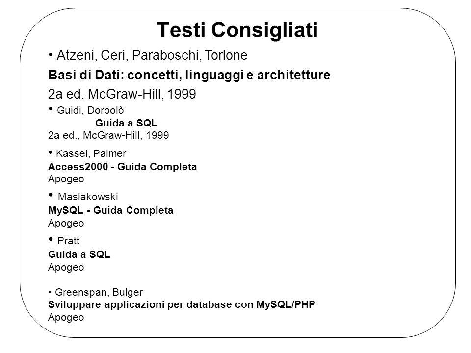 Testi Consigliati Atzeni, Ceri, Paraboschi, Torlone Basi di Dati: concetti, linguaggi e architetture 2a ed.
