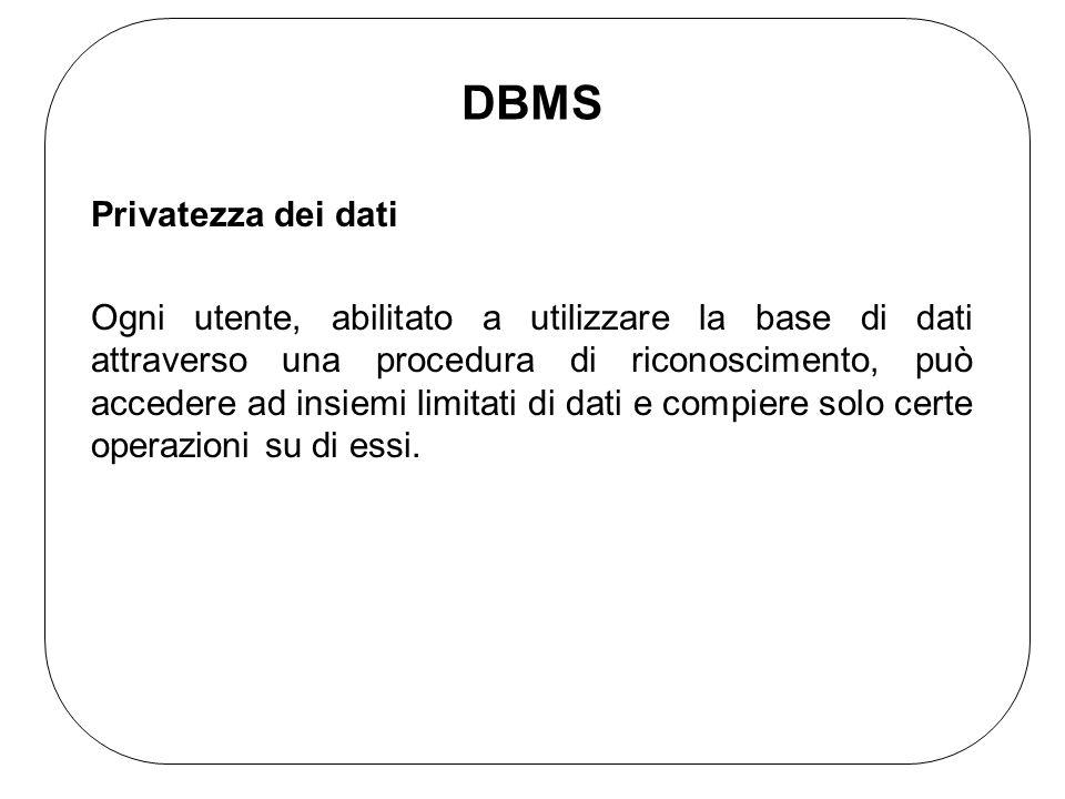 DBMS Privatezza dei dati Ogni utente, abilitato a utilizzare la base di dati attraverso una procedura di riconoscimento, può accedere ad insiemi limitati di dati e compiere solo certe operazioni su di essi.