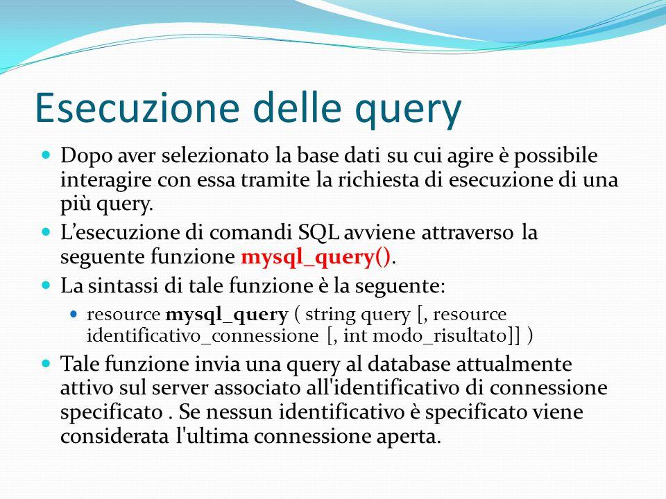 Esecuzione delle query Dopo aver selezionato la base dati su cui agire è possibile interagire con essa tramite la richiesta di esecuzione di una più query.