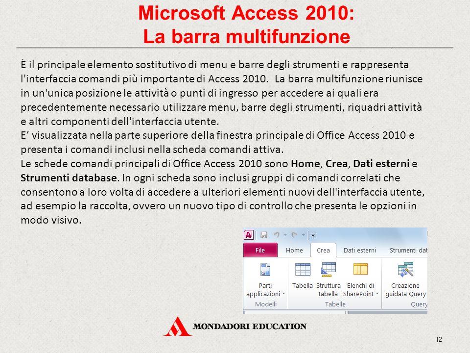 Microsoft Access 2010: La barra multifunzione È il principale elemento sostitutivo di menu e barre degli strumenti e rappresenta l interfaccia comandi più importante di Access 2010.