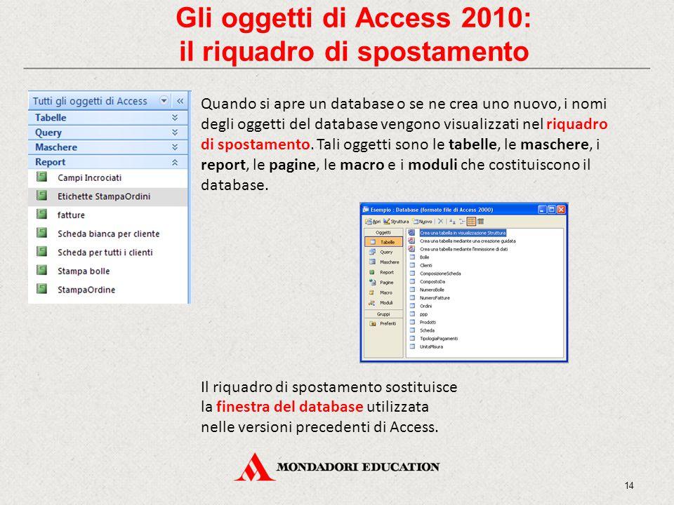 Gli oggetti di Access 2010: il riquadro di spostamento Quando si apre un database o se ne crea uno nuovo, i nomi degli oggetti del database vengono visualizzati nel riquadro di spostamento.