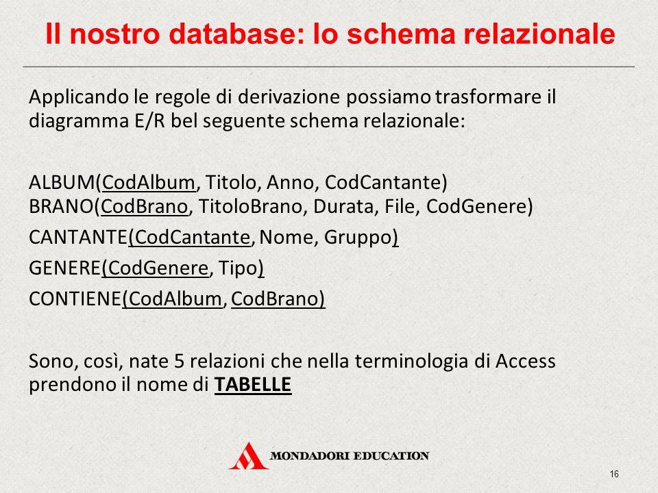 Il nostro database: lo schema relazionale Applicando le regole di derivazione possiamo trasformare il diagramma E/R bel seguente schema relazionale: ALBUM(CodAlbum, Titolo, Anno, CodCantante) BRANO(CodBrano, TitoloBrano, Durata, File, CodGenere) CANTANTE(CodCantante, Nome, Gruppo) GENERE(CodGenere, Tipo) CONTIENE(CodAlbum, CodBrano) Sono, così, nate 5 relazioni che nella terminologia di Access prendono il nome di TABELLE 16