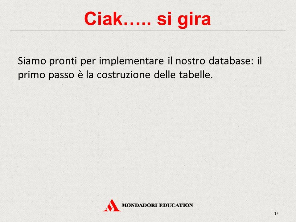 Ciak….. si gira Siamo pronti per implementare il nostro database: il primo passo è la costruzione delle tabelle. 17