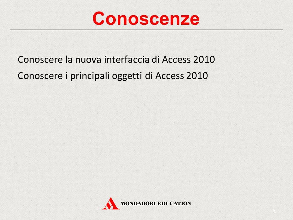 Conoscenze Conoscere la nuova interfaccia di Access 2010 Conoscere i principali oggetti di Access 2010 5