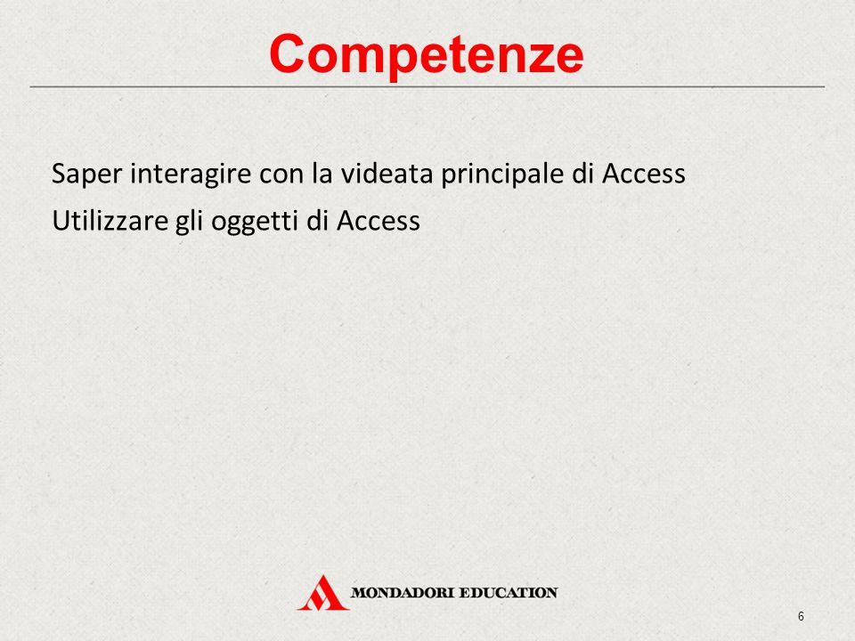 Competenze Saper interagire con la videata principale di Access Utilizzare gli oggetti di Access 6
