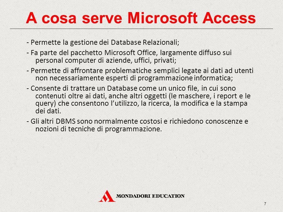 A cosa serve Microsoft Access - Permette la gestione dei Database Relazionali; - Fa parte del pacchetto Microsoft Office, largamente diffuso sui perso