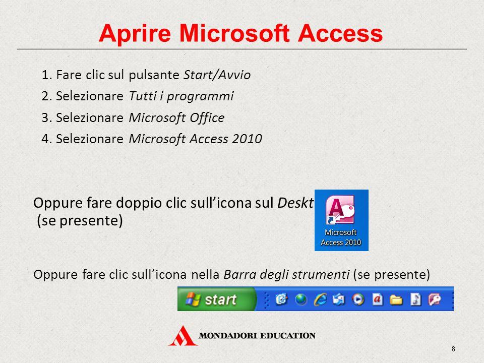 1. Fare clic sul pulsante Start/Avvio 2. Selezionare Tutti i programmi 3. Selezionare Microsoft Office 4. Selezionare Microsoft Access 2010 Aprire Mic