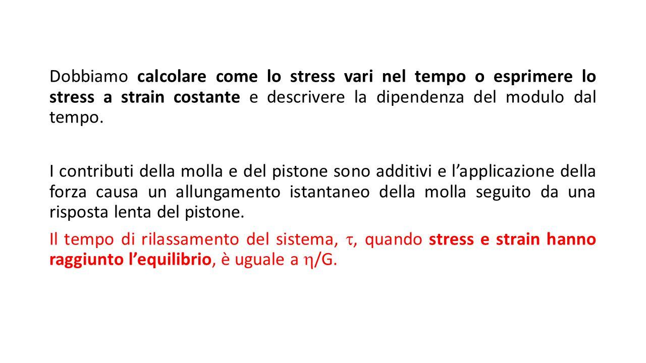 Dobbiamo calcolare come lo stress vari nel tempo o esprimere lo stress a strain costante e descrivere la dipendenza del modulo dal tempo. I contributi