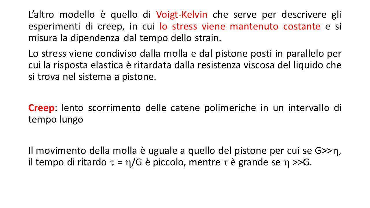 L'altro modello è quello di Voigt-Kelvin che serve per descrivere gli esperimenti di creep, in cui lo stress viene mantenuto costante e si misura la d