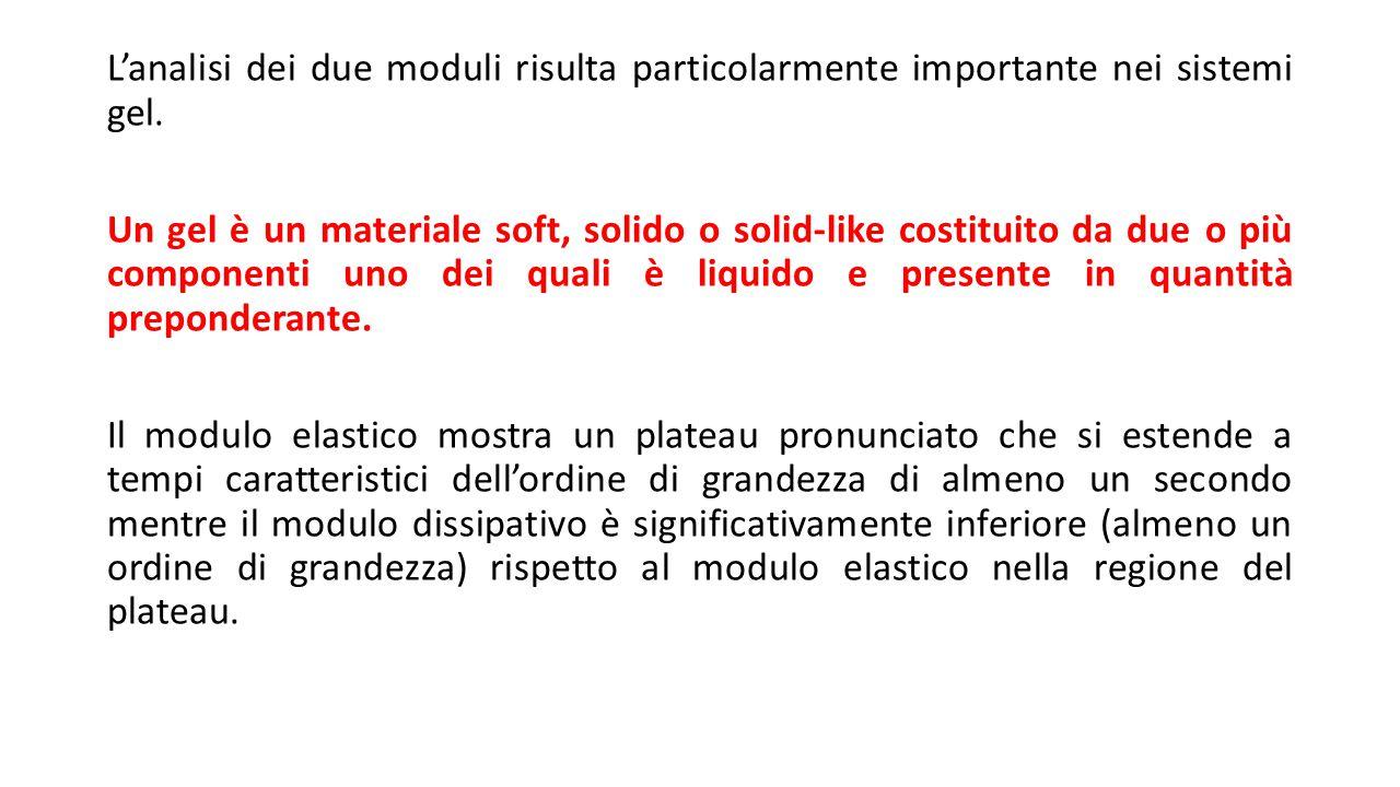 L'analisi dei due moduli risulta particolarmente importante nei sistemi gel. Un gel è un materiale soft, solido o solid-like costituito da due o più c