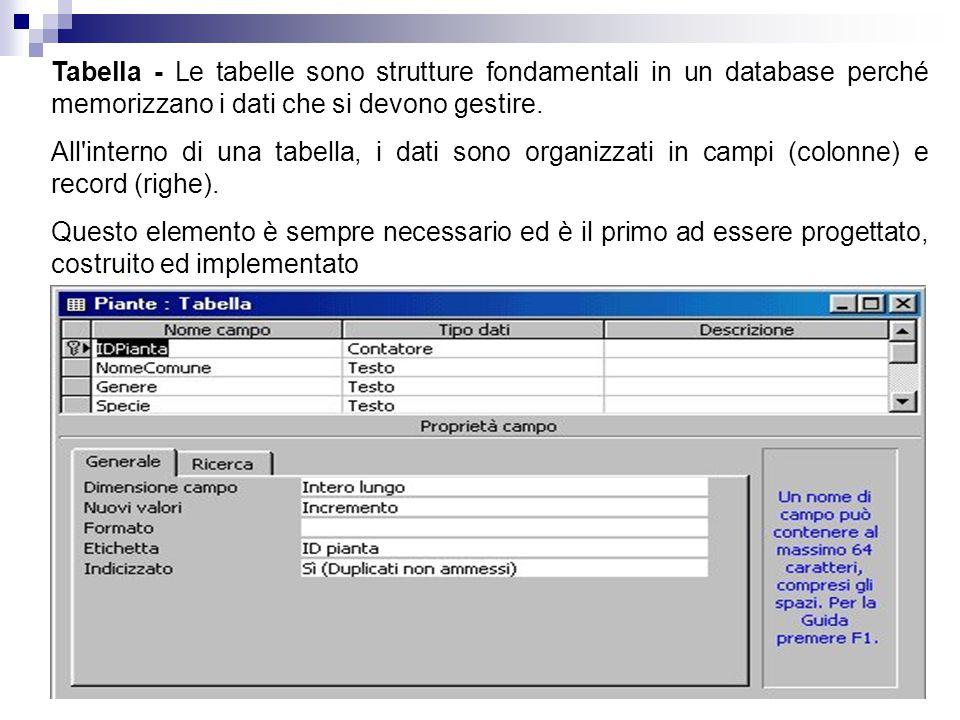 Tabella - Le tabelle sono strutture fondamentali in un database perché memorizzano i dati che si devono gestire. All'interno di una tabella, i dati so