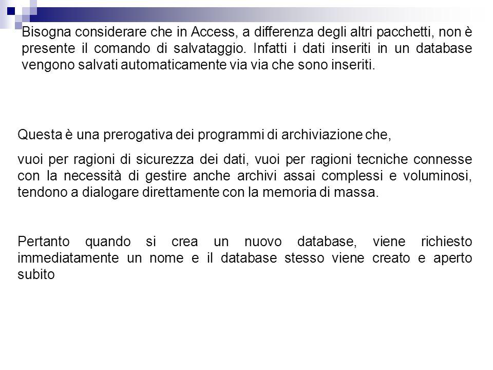 Bisogna considerare che in Access, a differenza degli altri pacchetti, non è presente il comando di salvataggio. Infatti i dati inseriti in un databa