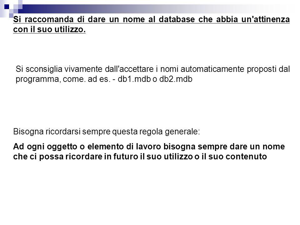 Si raccomanda di dare un nome al database che abbia un'attinenza con il suo utilizzo. Si sconsiglia vivamente dall'accettare i nomi automaticamente pr