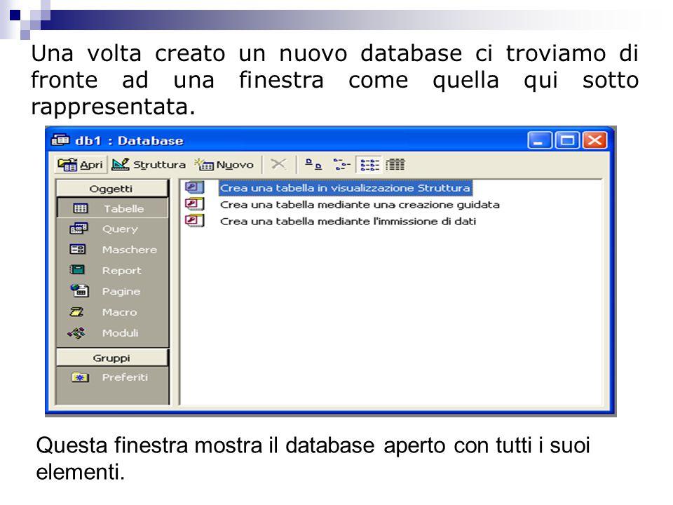 Una volta creato un nuovo database ci troviamo di fronte ad una finestra come quella qui sotto rappresentata. Questa finestra mostra il database apert