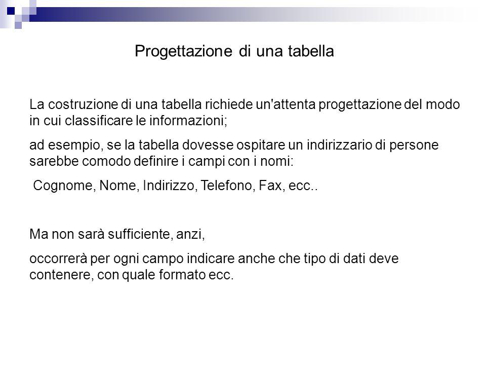 Progettazione di una tabella La costruzione di una tabella richiede un'attenta progettazione del modo in cui classificare le informazioni; ad esempio,