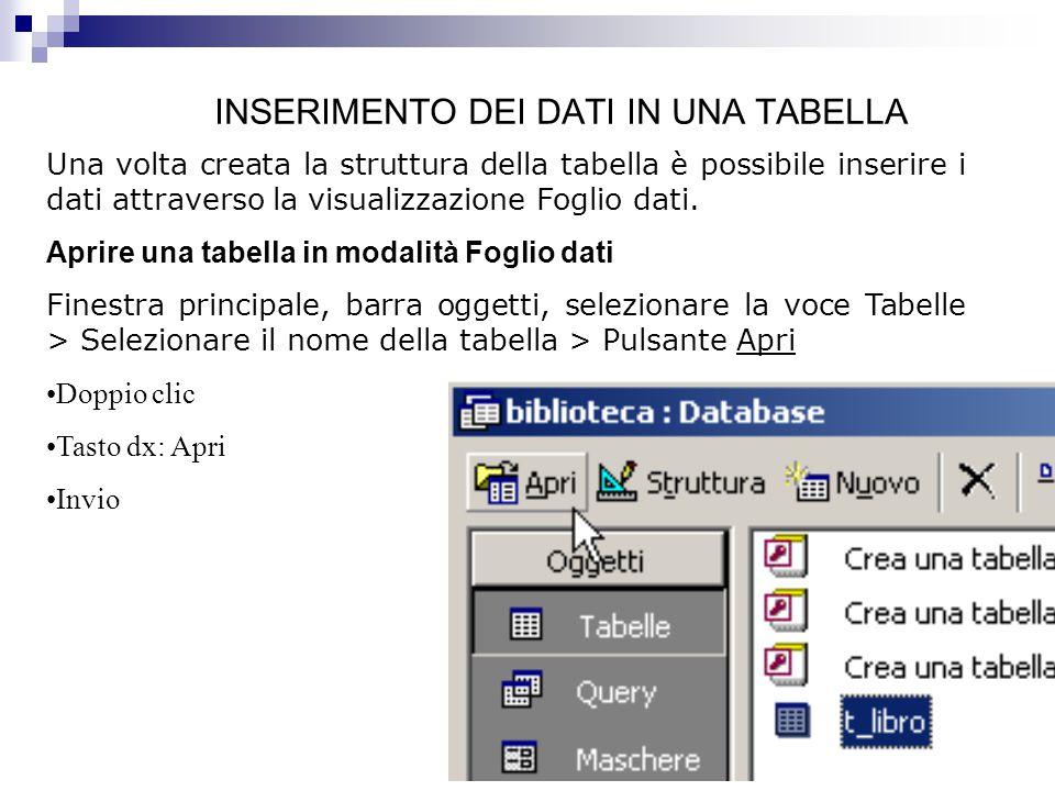 INSERIMENTO DEI DATI IN UNA TABELLA Una volta creata la struttura della tabella è possibile inserire i dati attraverso la visualizzazione Foglio dati.