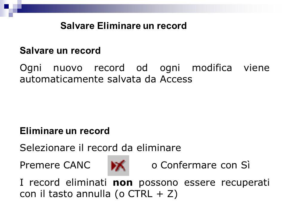 Salvare un record Ogni nuovo record od ogni modifica viene automaticamente salvata da Access Eliminare un record Selezionare il record da eliminare Pr