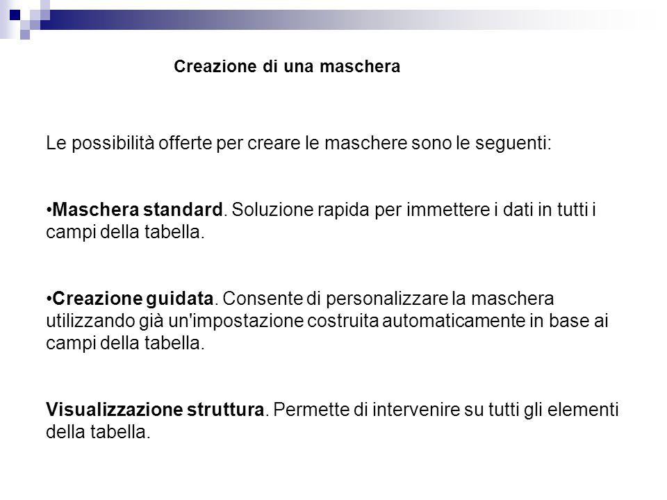 Creazione di una maschera Le possibilità offerte per creare le maschere sono le seguenti: Maschera standard. Soluzione rapida per immettere i dati in