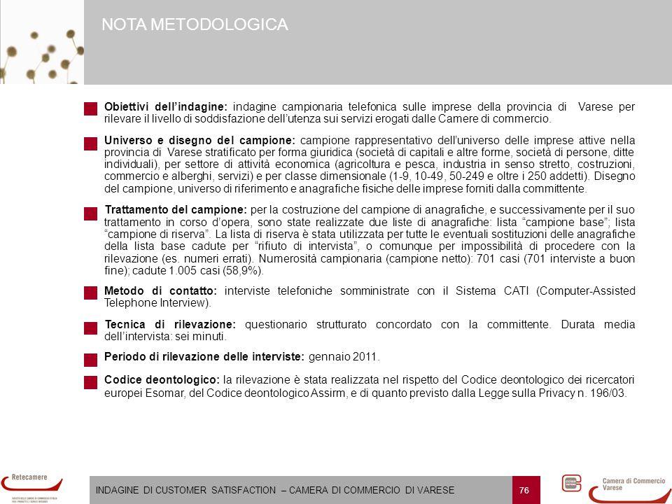 INDAGINE DI CUSTOMER SATISFACTION – CAMERA DI COMMERCIO DI VARESE 76 NOTA METODOLOGICA Obiettivi dell'indagine: indagine campionaria telefonica sulle
