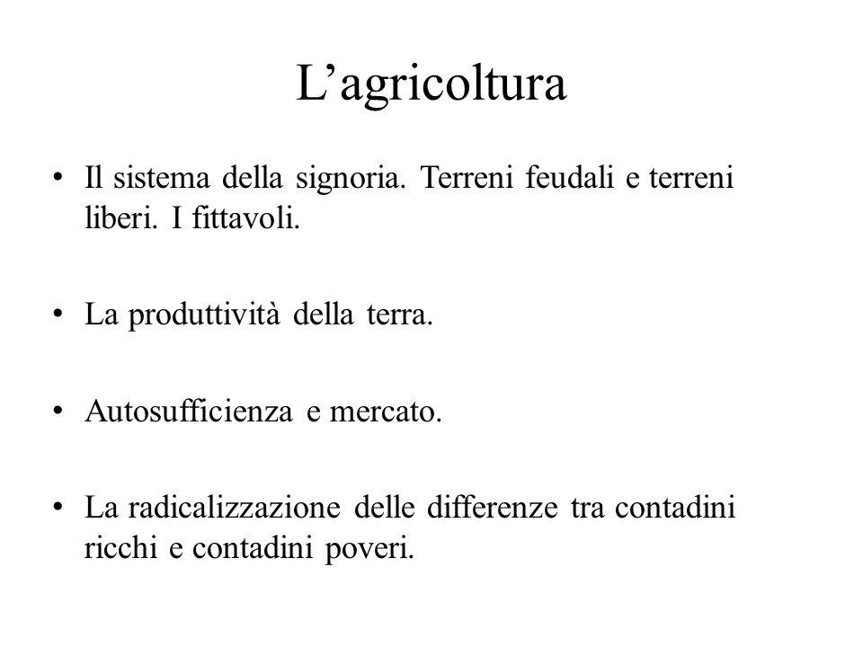 L'agricoltura Il sistema della signoria. Terreni feudali e terreni liberi. I fittavoli. La produttività della terra. Autosufficienza e mercato. La rad