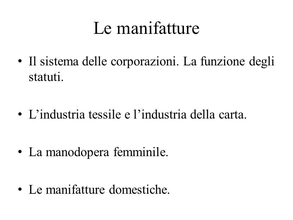 Le manifatture Il sistema delle corporazioni. La funzione degli statuti. L'industria tessile e l'industria della carta. La manodopera femminile. Le ma