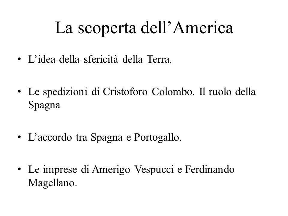 La scoperta dell'America L'idea della sfericità della Terra. Le spedizioni di Cristoforo Colombo. Il ruolo della Spagna L'accordo tra Spagna e Portoga