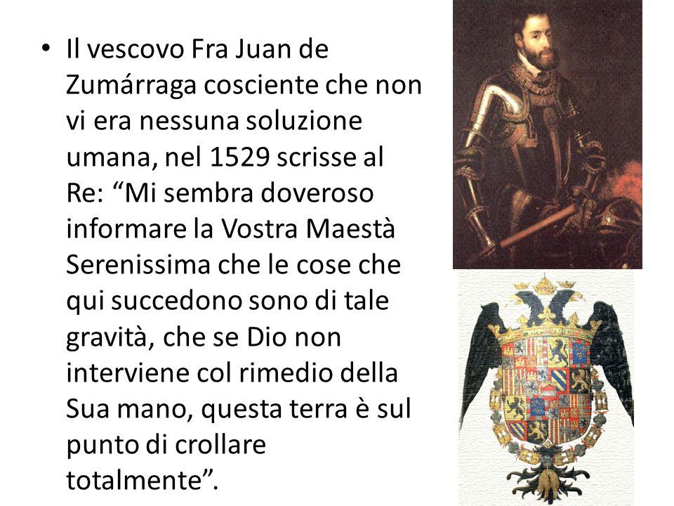"""Il vescovo Fra Juan de Zumárraga cosciente che non vi era nessuna soluzione umana, nel 1529 scrisse al Re: """"Mi sembra doveroso informare la Vostra Mae"""