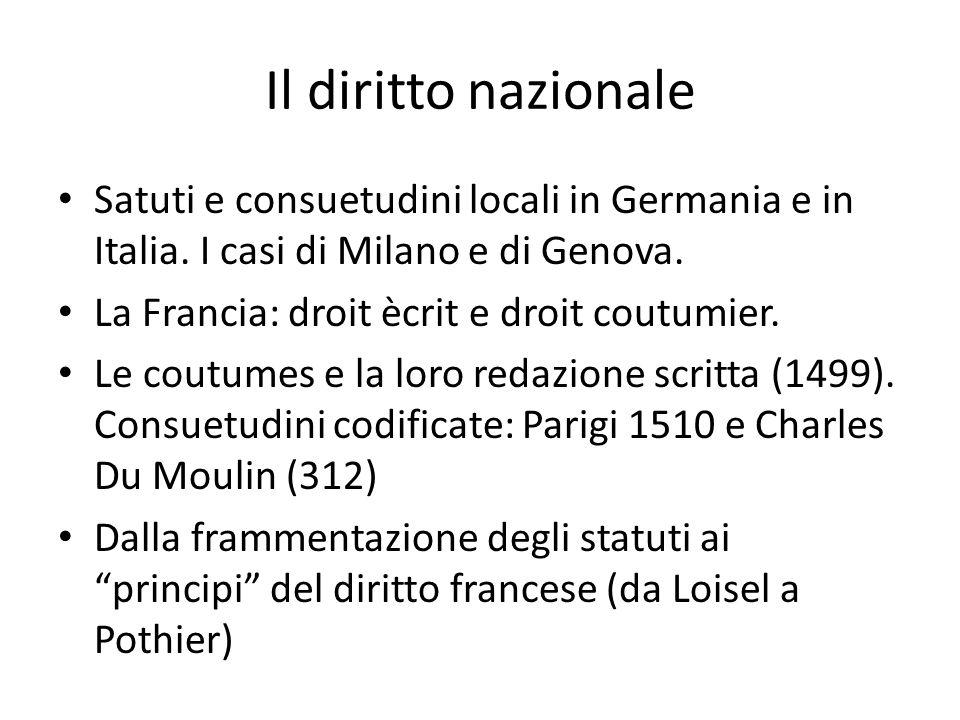 Il diritto nazionale Satuti e consuetudini locali in Germania e in Italia. I casi di Milano e di Genova. La Francia: droit ècrit e droit coutumier. Le