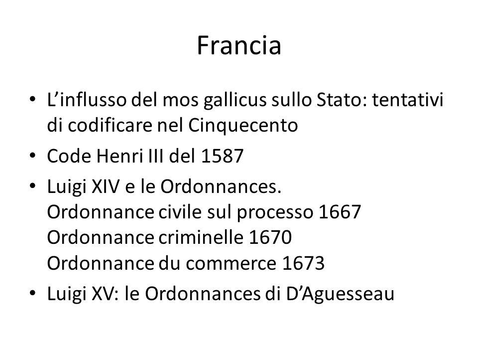 Francia L'influsso del mos gallicus sullo Stato: tentativi di codificare nel Cinquecento Code Henri III del 1587 Luigi XIV e le Ordonnances. Ordonnanc