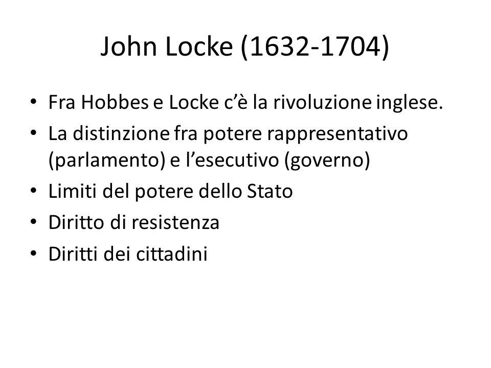 John Locke (1632-1704) Fra Hobbes e Locke c'è la rivoluzione inglese. La distinzione fra potere rappresentativo (parlamento) e l'esecutivo (governo) L
