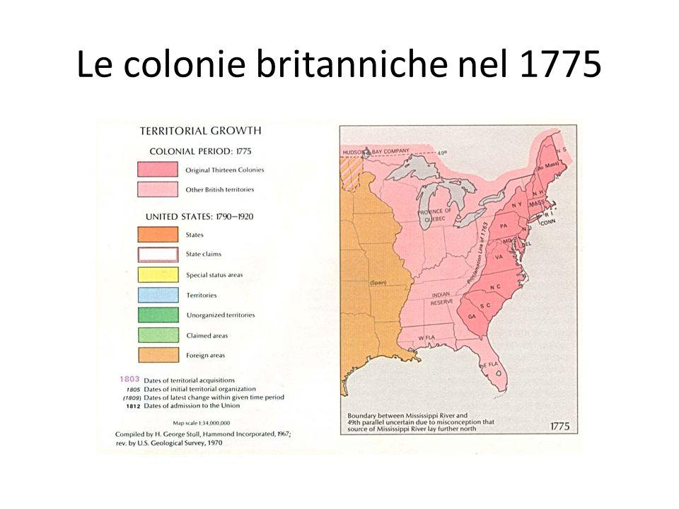 Le colonie britanniche nel 1775
