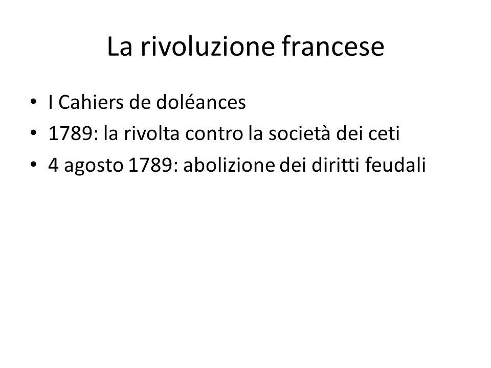La rivoluzione francese I Cahiers de doléances 1789: la rivolta contro la società dei ceti 4 agosto 1789: abolizione dei diritti feudali