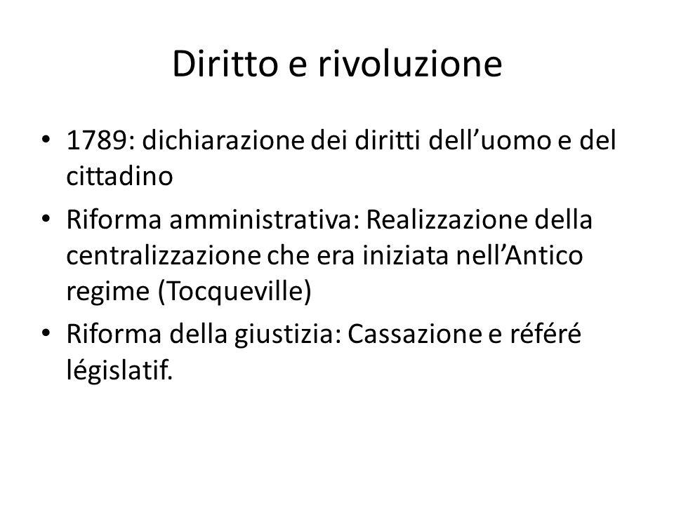 Diritto e rivoluzione 1789: dichiarazione dei diritti dell'uomo e del cittadino Riforma amministrativa: Realizzazione della centralizzazione che era i
