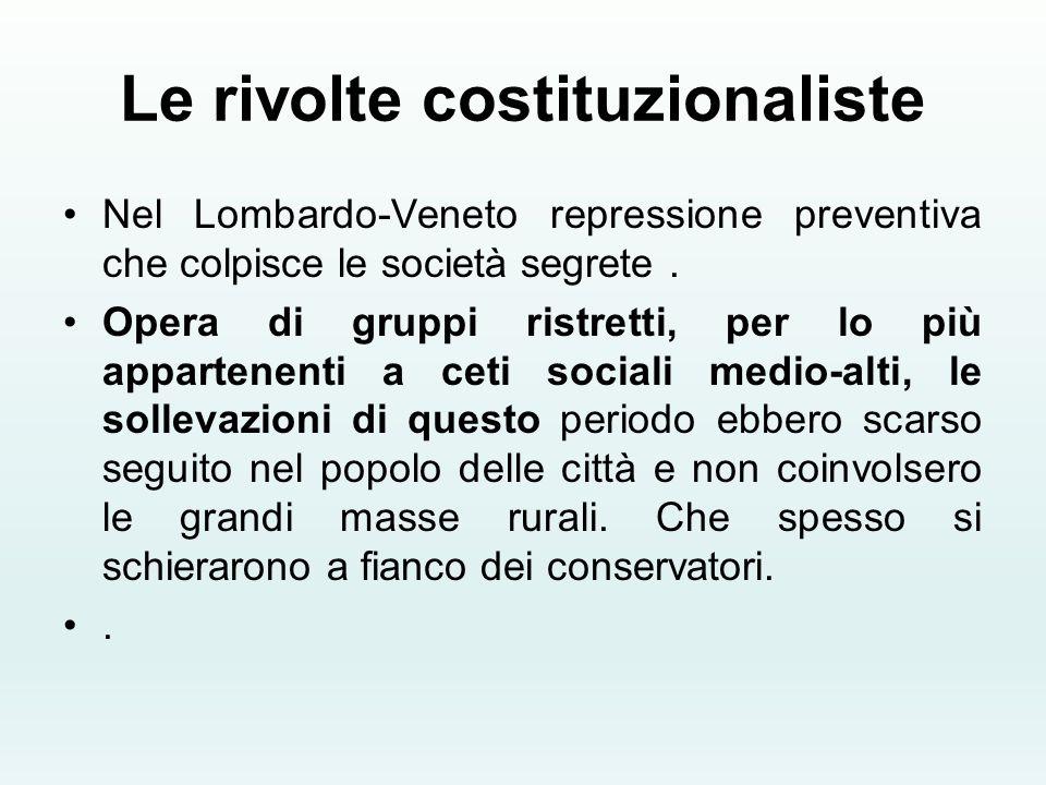 Le rivolte costituzionaliste Nel Lombardo-Veneto repressione preventiva che colpisce le società segrete. Opera di gruppi ristretti, per lo più apparte