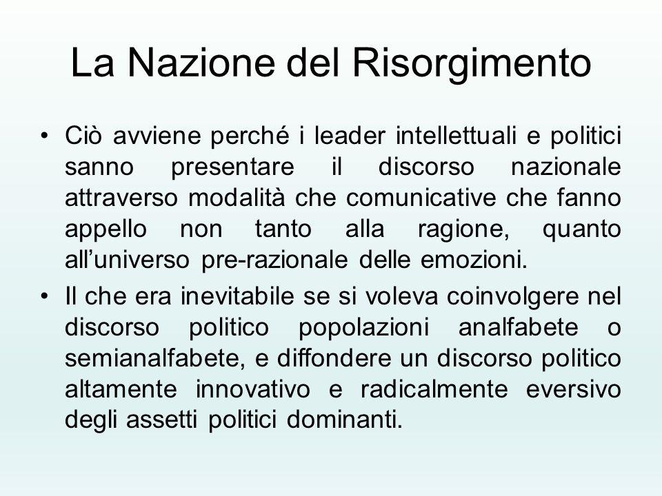 La Nazione del Risorgimento Ciò avviene perché i leader intellettuali e politici sanno presentare il discorso nazionale attraverso modalità che comuni