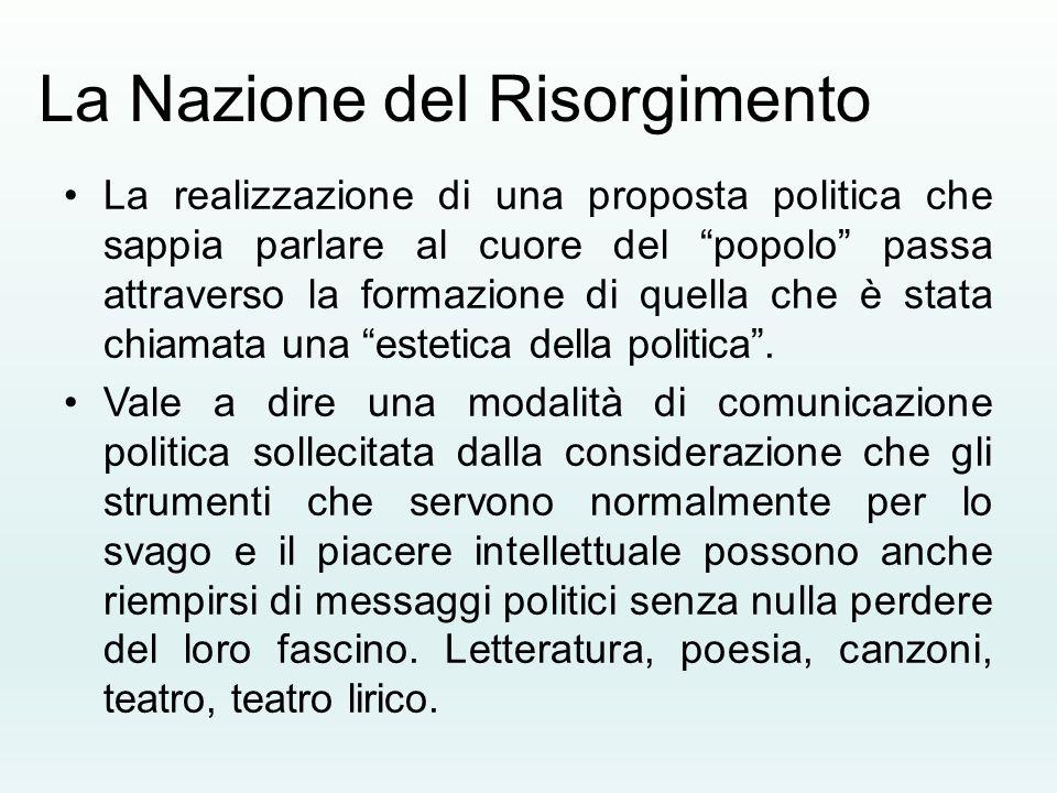 """La Nazione del Risorgimento La realizzazione di una proposta politica che sappia parlare al cuore del """"popolo"""" passa attraverso la formazione di quell"""